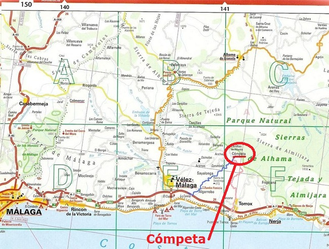Map of Route to Cómpeta w. highlight